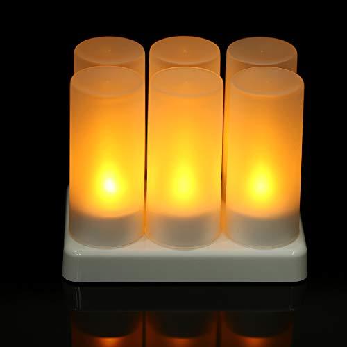 Galapara LED Wiederaufladbare Flammenlose Kerzen 6 Stück wiederaufladbare led flackernden flammenlosen Kerzen teelicht Kerzen Lichter mit mattierten tassen Lade Basis gelbes licht