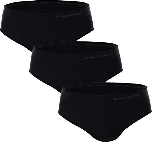 BRUBECK 3er Set Slips Merino Damen | Hipster | Unterhose atmungsaktiv | Hüftslip | Nahtlose Unterwäsche für Mädchen Frauen | Womens Underwear Seamless | 41% Merino | Gr. M | Schwarz | HI10080