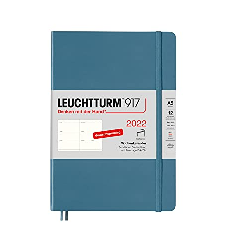 LEUCHTTURM1917 363613 Calendario semanal 2022 Softcover Medium (A5), 12 meses, color azul piedra, alemán