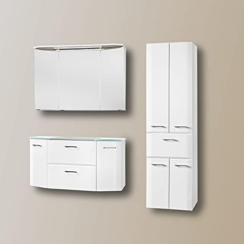 Möbel29 Juego de muebles de baño (4 piezas, iluminación LED montada), color blanco brillante