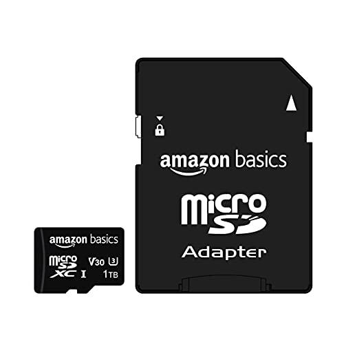 Amazon Basics - Tarjeta de memoria microSDXC 1 TB con adaptador de tamaño completo, A2, U3, velocidad de lectura hasta 100 MB/s