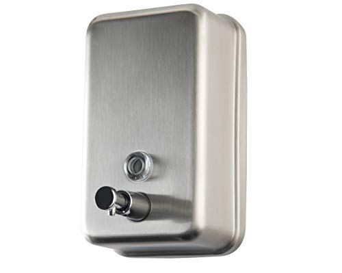 Commercial Soap Dispenser Wall Mount - Stainless Steel Wall Mounted Soap Dispenser for Bathroom - New Superior Design with Premium Grade Anti-Leak Pump and Corrosion-Proof Lining