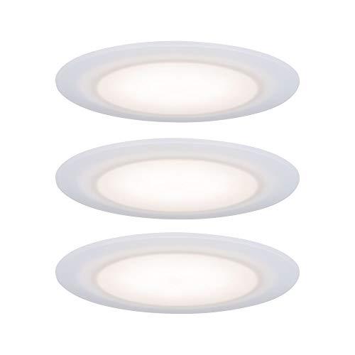 Paulmann 99940 LED Einbauleuchte Premium Set Suon rund incl. 3x6,5 Watt IP44 dimmbar Einbaustrahler Satin, Weiß Schranklicht Kunststoff Einbaulampe 2700 K, Satin,Weiß
