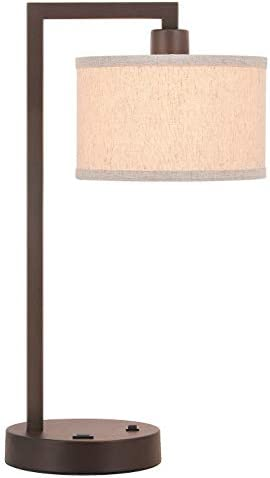 XiNBEi Lighting Table Lamp Desk Lamp with USB and Fabric Shade Modern End Table Lamp Dark Bronze product image