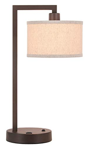 XiNBEi Lighting Table Lamp Desk Lamp with USB and Fabric Shade, Modern End Table Lamp Dark Bronze Finish for Bedroom Living Room & Office XB-TL1231-DB