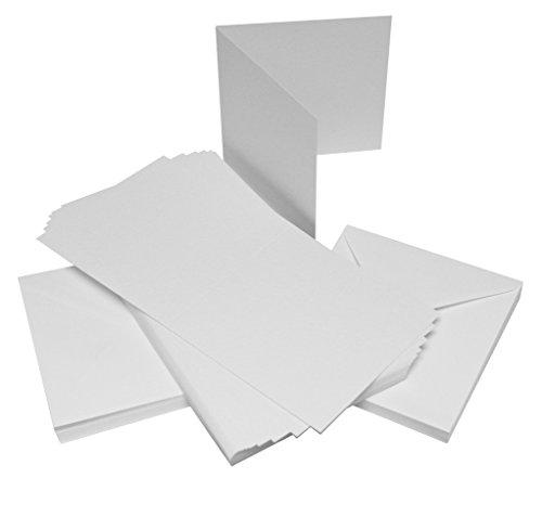Craft UK W101 15,2 x 15,2 cm martelé Lot de 50 cartes et enveloppes – Blanc