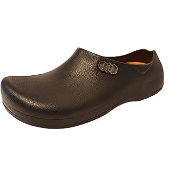 Stico Men s Slip Resistant Chef Clogs Professional Non-Slip Work Shoes for Restaurant Hospital Nursing Baker Garden M10 W12 Black
