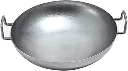 Wok Pan de gastronomía para el diámetro de la Estufa de Gas con Suelo Redondo para Gas, gastronomía, Madera. (Size : 34 Cm)