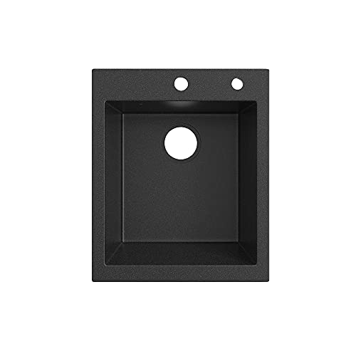 Bergstroem Granit Spüle Küchenspüle Einbauspüle Spülbecken 500x425 mm (Schwarz)