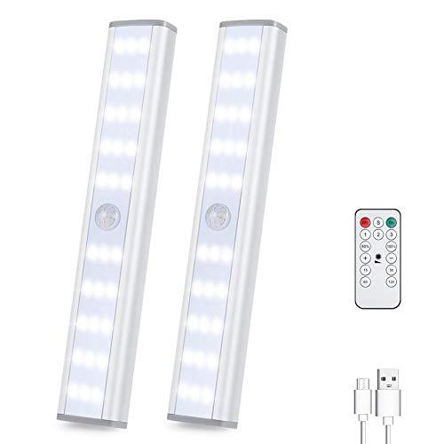 luz led armario Luz Con Sensor De Movimiento USB Iinalámbrico Recargable magnético Movimiento Sensor Luces nocturnas 30 LED para Gabinete Pasillo,Escalera,Cocina,pasillo,recámara,sala infantil 2pack