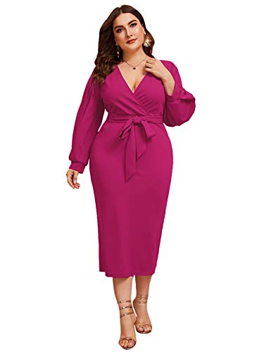 Verdusa Women's Plus Size Bishop Sleeve Plunging V Neck Belted Bodycon Dress Hot Pink 3XL
