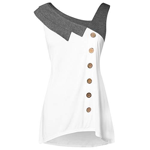 Sunmoot Plus Size Tank Top for Women Fashion Patchwork Skew Neck Asymmetric Hem Sleeveless Button Casual T-Shirt White