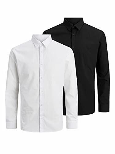 Jack & Jones JJJOE Shirt LS 2 Pack Camisa, Negro/Detalle: Pack W...