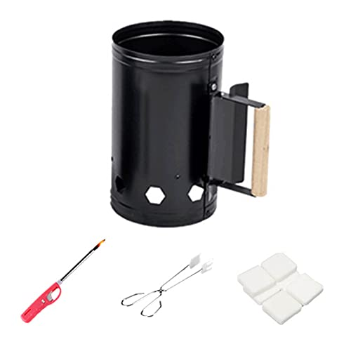 Rapidfire Chimney Starter, Grill Quick Start Galvanised Steel Camping Fire Ignition Lighter Coal Fuel Burner Lighting Kit with Wooden Handle