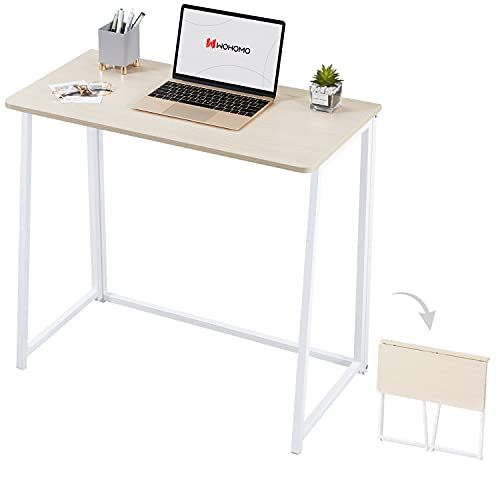 """WOHOMO Folding Computer Desk, Small Writing Desk 31.5"""", Space-Saving Foldable Laptop Table Writing Workstation for Home Office, Easy Assembly, Oak"""