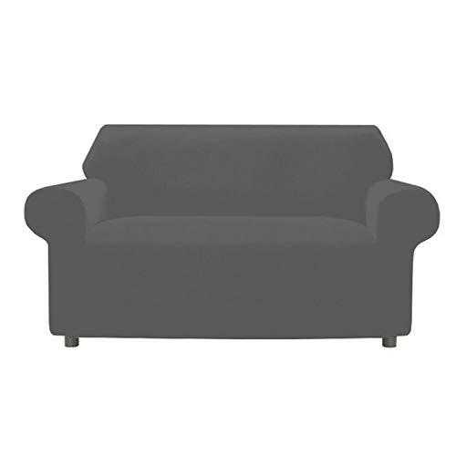 Funda elástica para sofá de 3 plazas, 4 plazas, 2 plazas y sillón, cubre cubre sofá elástica antimanchas antiarañazos (gris oscuro, 2 plazas)