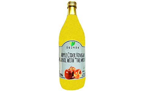SUJASH Organic Apple Cider Vinegar with Mother 1Ltr - Raw ,Unfiltered, Naturally Gluten Free