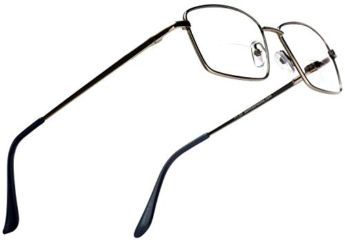 Bifocal Grey Metal Rectangle Readers Clear Lens Magnification Rx Reading Glasses +2.50