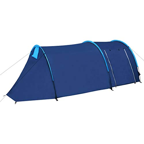 vidaXL Tente de Camping 4 Personnes Bleu Marine Jaune Randonnée Extérieur