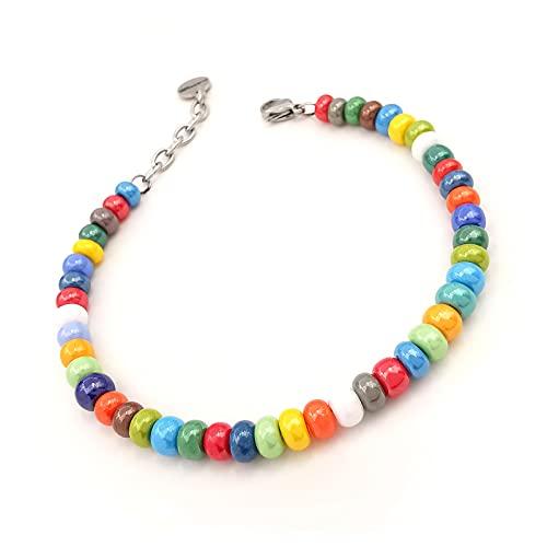 Bracciale da uomo perle braccialetto colorato moda regolabile perline palline ragazzo