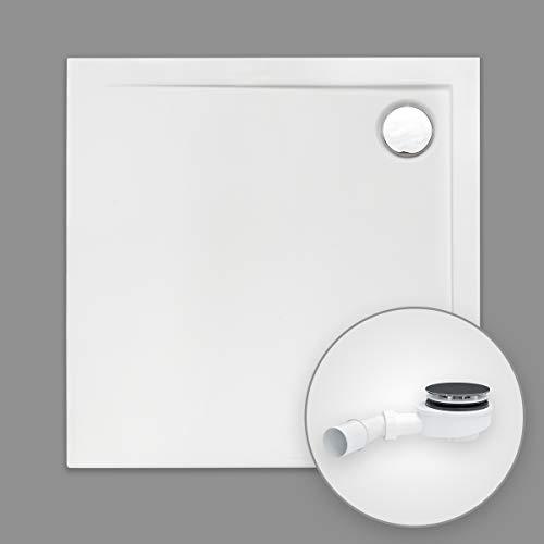 Duschwanne AQUABAD® Comfort Neo quadratisch 90 x 90 cm, Extraflache Acryl-Duschtasse, Aufbau-Höhe: 4,5 cm, Ablaufgarnitur Trapflex extraflach