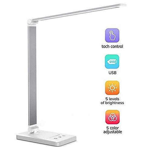 HFY Led-bureaulamp, dimbare tafellamp, 5 kleuren en 5 helderheidsniveaus, oogvriendelijke bedlamp, niet-verblindend leeslamp, auto-timer, met USB-aansluiting voor opladen