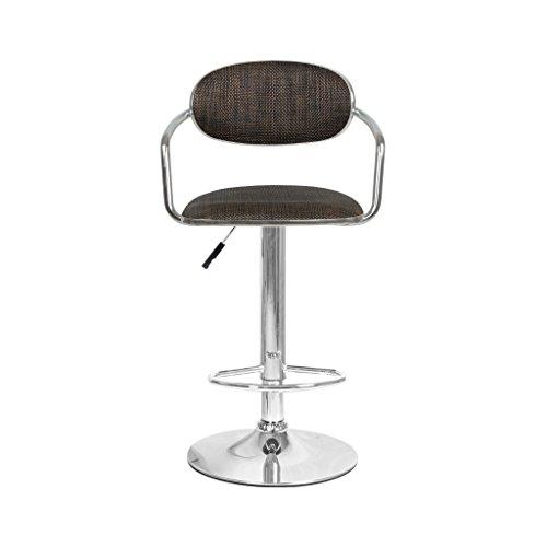 Guo shop- Art Bar Tabouret Rotin Weave Sièges, Chaise de Bar Dossier Réglable Spin Café Chaise de Restaurant Beige Brun Bonne chaise (Couleur : A)