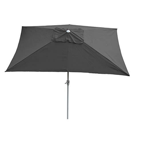 Mendler Sonnenschirm N23, Gartenschirm, 2x3m rechteckig neigbar, Polyester/Alu 4,5kg ~ anthrazit