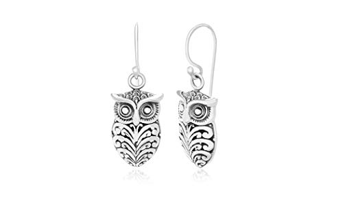 Willowbird Oxidized Sterling Silver Textured Owl Dangle French Wire Earrings for Women (Owl)