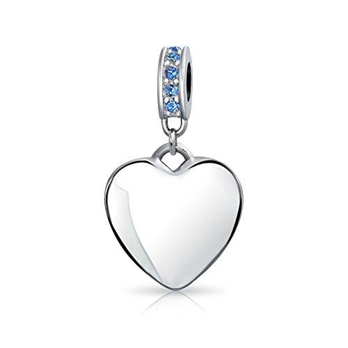 Engravable Cristallo Blu Cuore Cordone Di Fascino Per Donne Argento Sterling 925 Braccialetto Settembre Mese Di Nascita