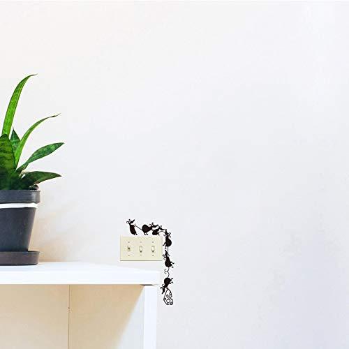 Pegatina de pared Vinilo tallado Pegatinas de pared Divertido Escalada Queso Interruptor del ratón Pegatinas Calcomanía de pared Arte Papel pintado Decoración del hogar