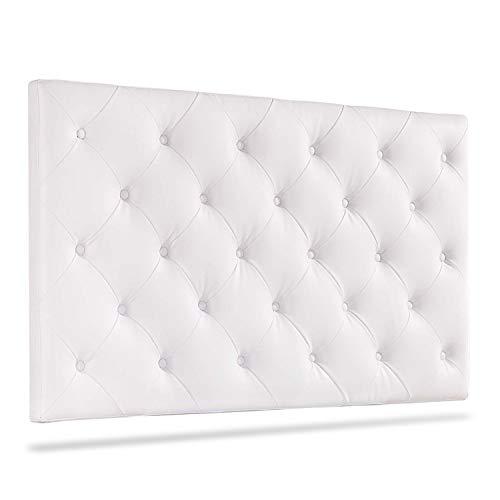 Enfield, Cabecero Cama Matrimonio, Cabezal Dormitorio Acabado en símil Piel Color Blanco, Medidas: 160 cm (Ancho) x 95 cm (Alto) x 9 cm (Fondo)