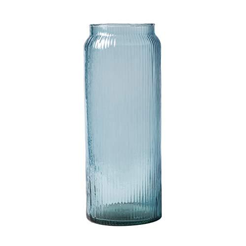 Weq Handgemachte transparente Wohnzimmervase des Vasenglases kleine frische Bodenglas-Vase Dekoration des Studienrestaurants (Color : Blue, Size : 14.5 * 14.5 * 38.5CM)