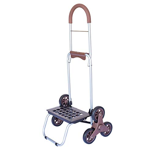 dbest products Stair Climber Mighty Max Personal Dolly, Brown Handtruck Hardware Garden Utility Cart
