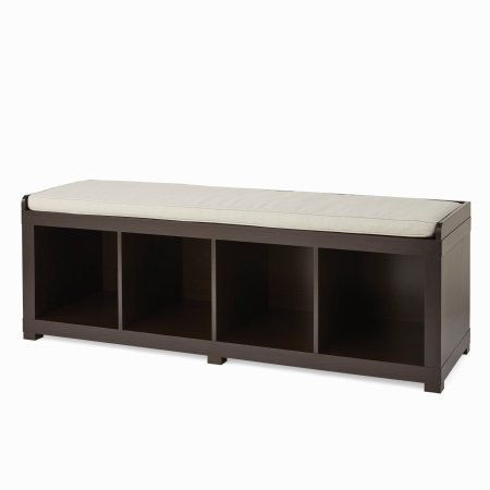 Better Homes and Gardens 4-Cube Storage Organizer Bench with Additional Item (4-Cube, Espresso)