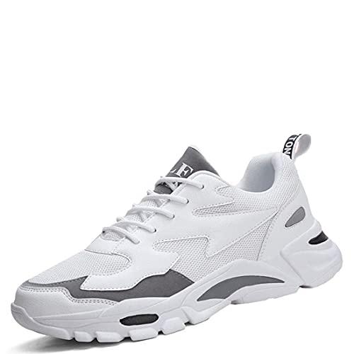 XIMIXI Zapatillas deportivas para hombre, transpirables, con cordones, suela exterior de goma antideslizante, zapatillas para correr en carretera, zapatillas de moda para hombre, Blanco, 44 EU
