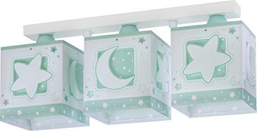 Dalber Kinderlampe Deckenleuchte, Kinderzimmer Deckenlampe 3 Lichter Mond und Sterne MoonLight Grün