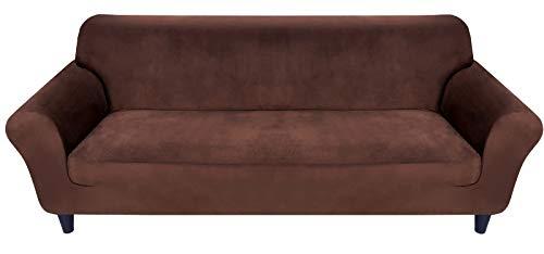 MR.COVER Sofabezug 2 Sitzer, Sofa Überzug Braun, Sofaüberwurf Dehnbar&Verschleißfestig aus Polyester, rutschfest Sofa Bezug, Haustierfreundliche Sofahusse(für 145~185cm lang 2-Sitzer Sofa)