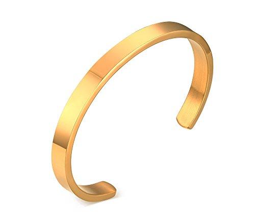 Mealguet Jewelry Pulseras de acero inoxidable pulidas llanas del brazalete del brazalete para los hombres mujeres, 6m m, chapado en oro/negro / dorado
