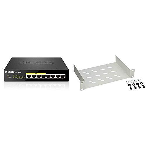 D-Link DGS-1008P 8-Port Layer2 Gigabit Switch (8 Anschlüsse mit 10/100/1000 Mbit/s) schwarz & DIGITUS 10