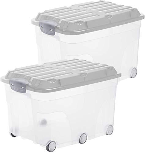 Rotho Roller 6 2er-Set Aufbewahrungsbox 57l mit Deckel und Rollen, Kunststoff (PP) BPA-frei, transparent/grau, 2 x 57l (60,0 x 40,0 x 45,0 cm)