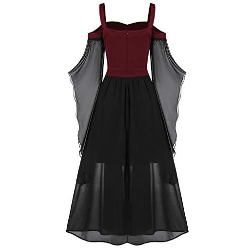 serliy😛Damen Lang Kleid Mesh Trägerloses Maxikleid Elegant Sexy Kleider Partykleid Abendkleider für Halloween Party Karneval