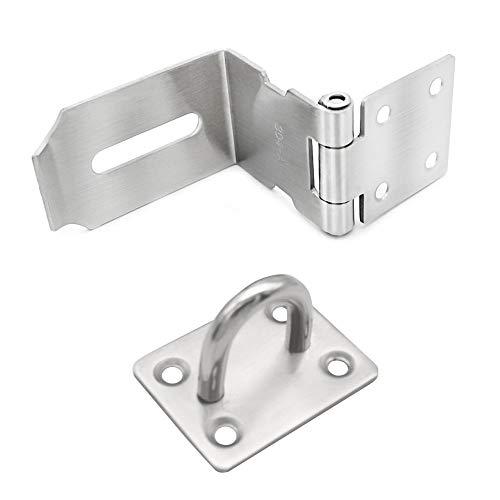 Mila-Amaz 90 Grad Überfalle für Vorhängeschloss Sicherheits-Überfalle Schloss Vorrichtung Türbeschlag mit Schrauben, Silber