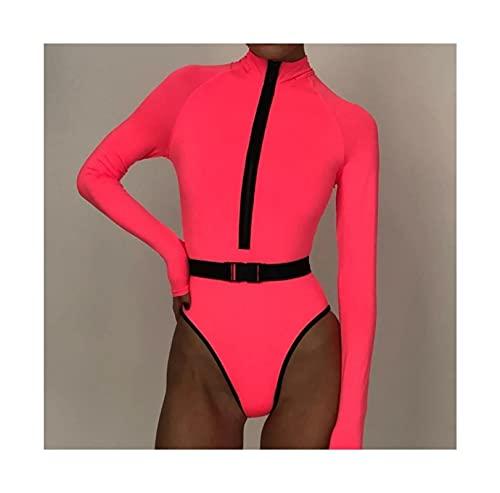 Surfanzug, sexy Neon Langarm einteiliger Badeanzug Surfen Anzug Frauen Badebekleidung Badeanzug Rash Guard Surfen Schwimmenanzug (Color : Pink, Size : S)