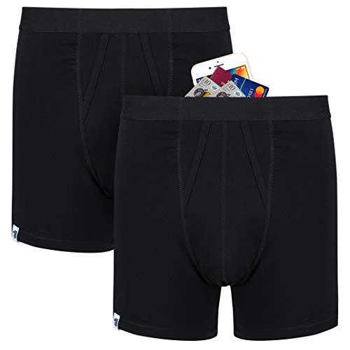 Anti-Diebstahl Taschendiebe protection boxershorts mit groBe geheim reise geld tasche. 2 pack (Schwarz) Größe XL