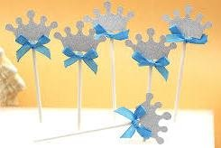 Crown Dessert Cupcake Toppers Silver Turquoise Blue Bow Crown Royal Prince Wedding Baby Shower Birthday Party (Pack of 12)