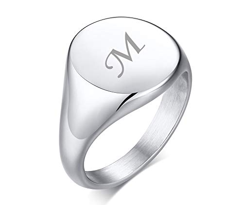 PJ JEWELLERY Unisex Personalised Stainless Steel Couple Initial Round Siget Ring Wedding Band 18K Gold Plated Custom Signet Ring for Women Size L 1/2