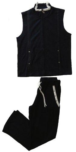 Vexcon dames wellness/home-wearpak met vest en broek in top-katoenkwaliteit met Milano-rib, veel waardevolle details, kleur marine, maat 40