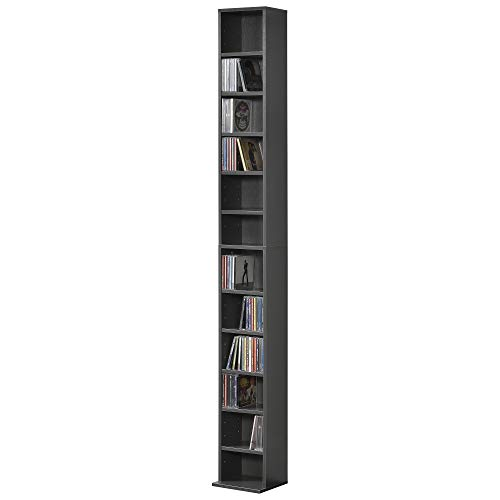 [en.casa] Estante para CDs Soporte para DVDs 175 x 20 x 20 cm Librería con 12 compartimientos Gris Oscuro