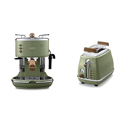 De'Longhi Icona Vintage Espresso Siebträgermaschine KBOV2001.GR - 15 bar, 1,4 l, grün & Toaster Icona Vintage CTOV2103.GR - 2-Schlitz-Toaster mit Brötchenaufsatz, grün